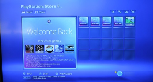 PlayStation Network Welcom Back