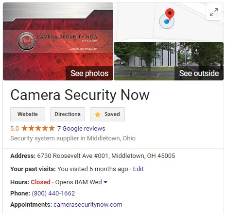 Google My Business - Camera Security Now
